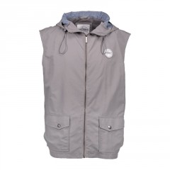 Vesta Aqua - High Neck Grey Gilet Hooded